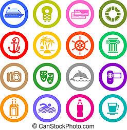 viaggiare, vacanza, &, ricreazione, icone, set
