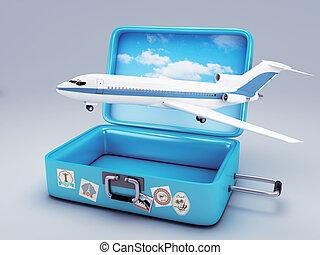 viaggiare, vacanza, suitcase., concetto, 3d