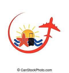 viaggiare, vettore, aeroplano, rosso, icona
