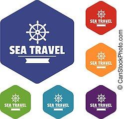 viaggiare, vettore, hexahedron, mare, icone