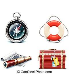 viaggiare, vettore, icons., marino