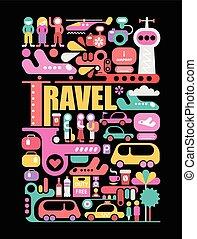 viaggiare, vettore, nero, illustrazione