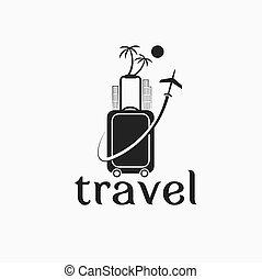 viaggiare, vettore, sagoma