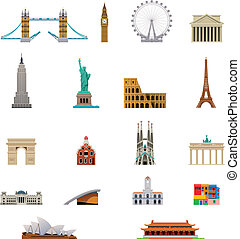 viaggiare, vettore, set, simbolo, icona