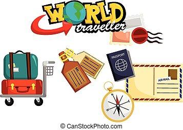 viaggiare, vettore, set