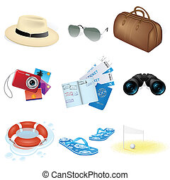 viaggiare, vettore, vacanza, icone