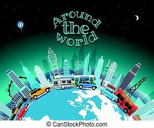 viaggiare, vettore, world., intorno, illustrazione