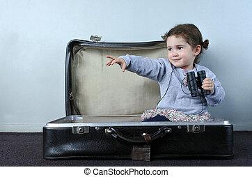 viaggiatore, bambino, in, uno, viaggiare, valigia