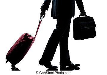 viaggiatore, camminare, uomo, valigia, borsetta, affari