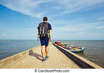 viaggiatore, giovane, asia