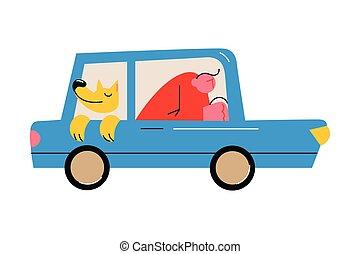 viaggio, aperto, sede automobile, cane, finestra, godere, indietro, proprietario