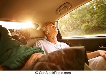 viaggio, automobile, adolescente, backseat, in pausa