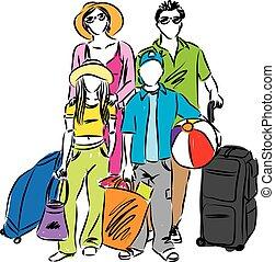 viaggio famiglia, illustrazione, vacanza