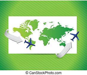 viaggio internazionale, disegno, concept., illustrazione