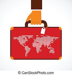 viaggio lavoro, -, illustrazione, valigia, uomo