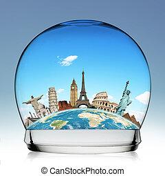 viaggio mondo, concetto, palla neve, monumento