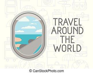 viaggio mondo, finestra, intorno, aeroplano