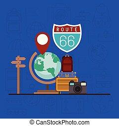 viaggio mondo, set, intorno, icone