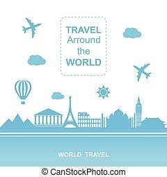 viaggio mondo, vettore, places., aereo, viaggiante, illustration., aeroplano, viaggio, famouse, vario, country., arround