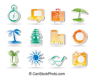 viaggio vacanza, icone, viaggio
