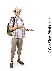 viajando, apresentando, homem jovem