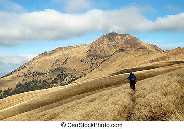 viajando arduamente, en las montañas