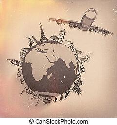 viajando, avião, mundo, ao redor