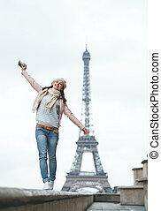viajando, mulher, em, europa