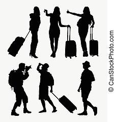 viajando, turista, silueta