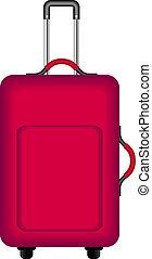 viajando, vermelho, mala