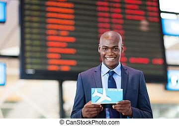 viajante, aeroporto, negócio, africano