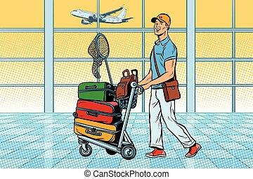viajante, aeroporto, turista, bagagem
