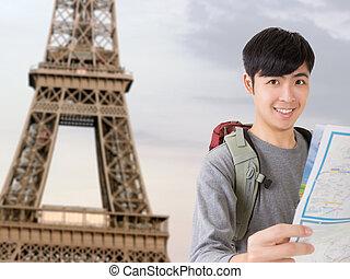 viajante, asiático, jovem