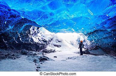 viajante, caverna, gelo