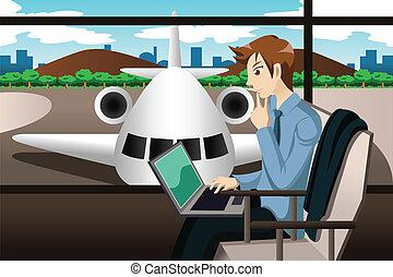 viajante, esperando, aeroporto, negócio