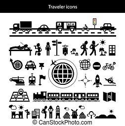 viajante, explorador, ícone