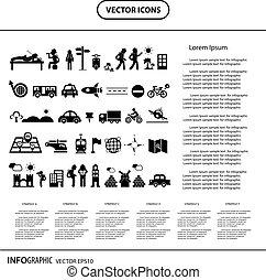 viajante, explorador, ícone, info, gráfico