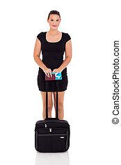 viajante, femininas, negócio