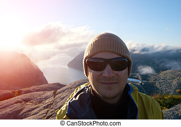 viajante, fjord, lysefjorden, retrato