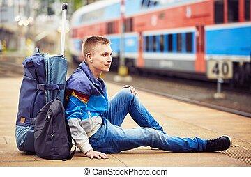 viajante, jovem