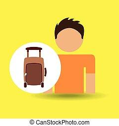 viajante, macho, personagem, marrom, mala