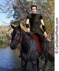 viajante, medieval, cavaleiro