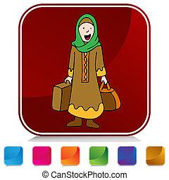 viajante, menina, muçulmano, jogo, botão