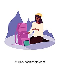 viajante, mochila, hiking mulher