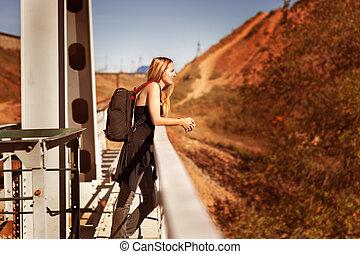 viajante, mochila, mulher
