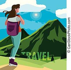 viajante, montanhoso, paisagem