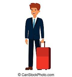 viajante negócio, caricatura, apartamento, vetorial, ilustração, conceito, ligado, isolado, fundo branco