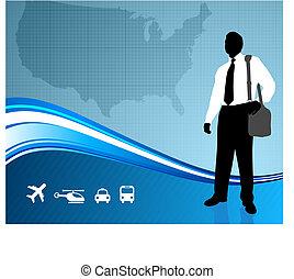 viajante negócio, ligado, mapa, backgroundtraveler