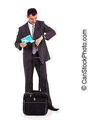 viajante negócio, verificar, tempo vôo
