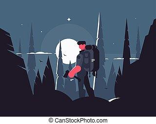 viajante, noturna, homem, caminhada